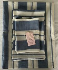 NEW COTTON LINEN BLEND HANDMADE BATH TOWELS SET of 6-COTTAGE STRIPE FRENCH BLUE