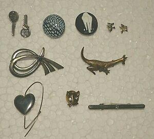 Modeschmuck zum Minipreis ! Ohrringe, Anstecknadeln/Pins,Broschen u.mehr ! Set 1
