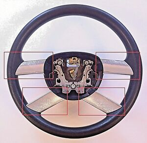 VOLKSWAGEN VW POLO (2002-05) STEERING WHEEL SPOKE TRIMS - BRUSHED CHROME EFFECT