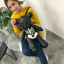 Black Kawaii Ropa Harajuku Teddy Bear Punk Black Skeleton Skull Bag Backpack