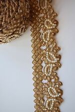 ATTRACTIVE HANDCRAFTED INDIAN  BEADED BORDER WITH CRYSTALS AND PEARL IN PAISLEY