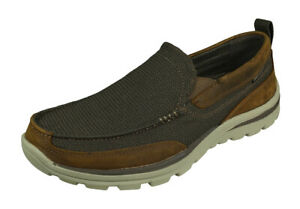 Skechers Superior Milford Mens Slip On Shoes Relaxed Fit Comfy Loafers Brown