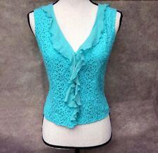 CYNTHIA STEFFE Size 4 XS Turquoise Blue Eyelet Tank Top Shell Silk Lace Cotton