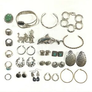 Lot of Sterling Silver Jewelry Some Stones 262 Grams Total Weight 23 Items