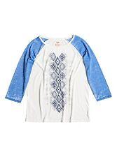 Roxy Woman Aruba Geo Kilim 3/4 Sleeve Ivory & Blue Raglan T-Shirt Tee Sz Medium