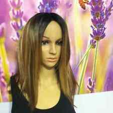 Ombre Mixed Brown with  Blonde highlights straight wig. Lace parting.
