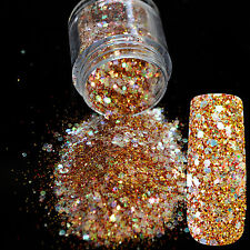 Golden Red Nail Art Powder Mix Shiny Sequins Acrylic Nails Glitter Powder N277