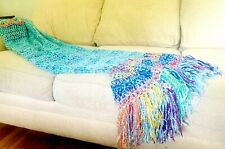 Turquoise and Rainbow Blanket Handmade Throw Crocheted  Afghan MADE TO ORDER