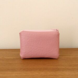 Coin Purse Pink Faux Leather Handmade Fabric Very Small Pouch Soft Mini