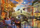 FRAMED CANVAS WALL ART PRINT ROMANTIC DINNER CAFE SUNSET VENICE CANAL ITALY