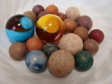 20 Vintage Marbles Handmade Clay With Modern Shooter Swirls Blue Yellow Brown