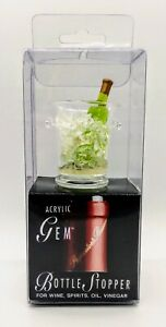 Prodyne Gem Bottle Stopper Clear Acrylic With AIrtight Silicone Seal New in Box