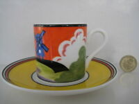 CLARICE CLIFF WEDGWOOD WINDMILL COFFEE CAN CUP & SAUCER DECO POTTERY CAFE CHIC