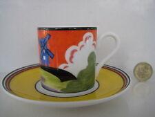 Clarice CLIFF Wedgwood MULINO A VENTO tazza caffè non & PIATTINO DECO CERAMICA CAFE Chic