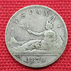 VICUSCOIN - SPAIN - SILVER - 2 PESETAS - 1ST REPUBLIC - YEAR 1870 DEM