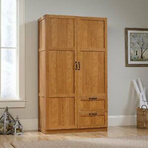 Oak Finish Armoire Wooden Wardrobe Storage Cabinet Closet Drawers Organizer