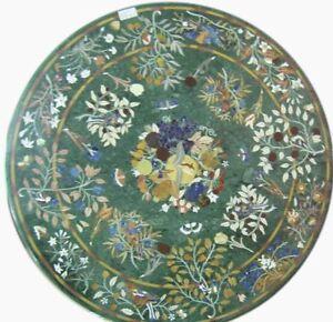 "42"" round Green Marble dining Table semi precious stones inlay handmade works"