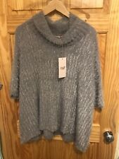 Goose Island Comfy Grey Cowl Neck Eyelash Poncho Top One Size NWT