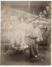 c.1880's PHOTO  JAPAN - OIRAN AND ATTENDANT PROSTITUTE