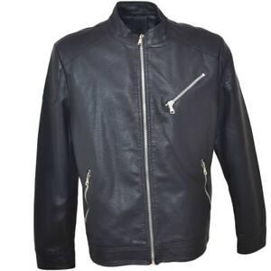 Giubbino giacca uomo in simil pelle con imbottitura zip frontale e taschino tras