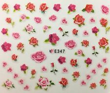 Nail Art 3D Decal Stickers Pink & Red Roses E347