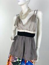Lanvin Paris New 10 US 42 FR 46 IT M Gray Black Silk Blouse Dress Top Runway