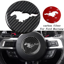 Carbon Fiber Interior Steering Wheel Trim Sticker For Ford Mustang 2015 - 2017