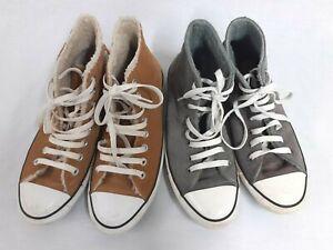 2 x Converse unisex high top boots suede, fleece lining tan & grey M.UK8 W.UK10