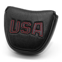 Magnetic Leather Mallet Putter Cover Headcover For Odyssey 2 Ball Black Red USA