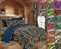 22 PC NAVY CAMO KING SIZE SET, COMFORTER SHEETS PILLOWCASES CURTAINS CAMOUFLAGE