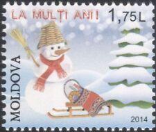 Moldavia 2014 Natale/Saluti/pupazzo di neve/albero/slitta/Regali/ANIMAZIONE 1 V n45253