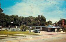 Leesburg Florida~Crossroads Motel~Pool~Cars~1963 Postcard