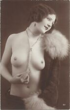 Rare original old French real photo postcard Jazz Age nude study 1920s RPPC #319