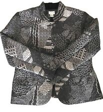 Chicos Metallic Blazer Size 1 Black Button Down Jacket Long Sleeves Geometric