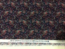 "Kesslers For Concord Fabrics Navy Blue Paisley Calico  2.66 Yards  42"" wide"