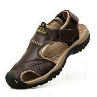 Mens Genuine Leather Sandals Summer Outdoor Hiking Camping Fisherman Shoes Size