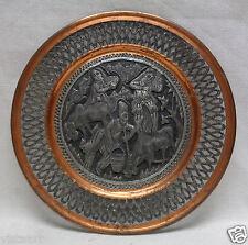 Antique Decor Metal Tray w. Copper Finish Borders & Engraved Persian Scenery