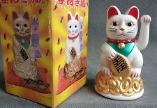 "4.5"" Lucky White Cat MANEKI NEKO Beckoning Waving Arm Wealth Prosperity FengShui"