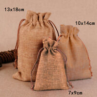10/50Pcs Small Burlap Linen Jute Sack Jewelry Rustic Pouch Drawstring Gift Bags