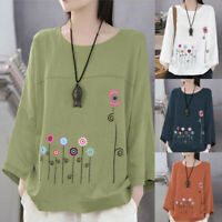 Plus Size Women Long Sleeve Cotton Linen O-Neck Print Blouse Top T-Shirt KY