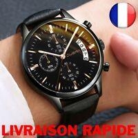 Montre Homme Date Cuir Sport Quartz Bracelet Acier Inoxydable CUENA Imperméable