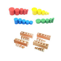 Montessori Sensorial Material Kids Learning Toy Set Cylinders & Wood Block