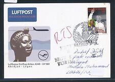 67848) LH FF Abidjan Ivoire - Lagos - Frankfurt 31.10.2000, card Mandela