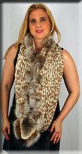 New Blush Leopart Print Infiniti Scarf Fox Fur Pom Poms - Efurs4less