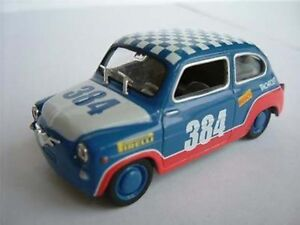 SEAT FIAT 600 RACING RALLY CAR MODEL 1/43RD BLUE/RED/WHITE VERSION 500 Y564 :_: