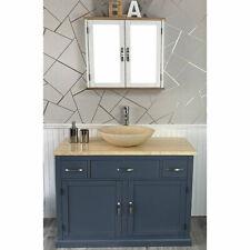 Bathroom Vanity Grey Modern Cabinet Wash Stand Cream Marble Top & Basin
