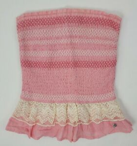 Abercrombie & Fitch Size XS Strapless Tube Top Pink Stretch Lace Peplum Elastic