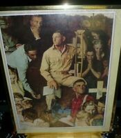 """Norman Rockwell WWII Framed poster the Long Shadow of Lincoln 20"""" x 16"""" vintage"""