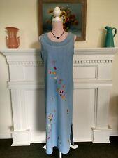 Carolina Blues Denim Maxi Jumper Sz. 8 all cotton light blue embroidered