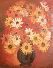 1992 Bulgarian Oil Painting, Still Life Flowers, Signed